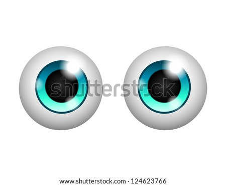 Pretty eyes isolated on white background. Raster version
