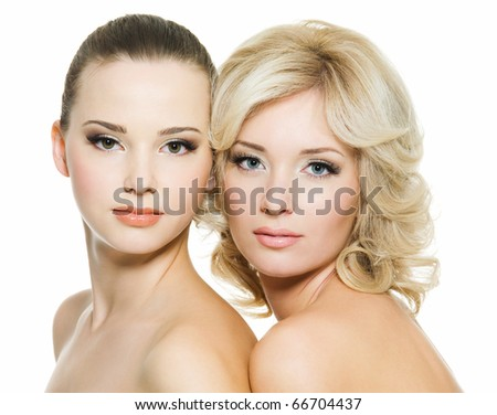 Pretty faces of the beautiful sexy young adult women posing on white background