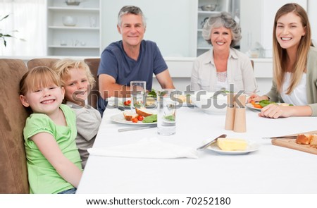 Pretty family looking at the camera