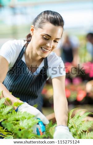 pretty female gardener working inside greenhouse