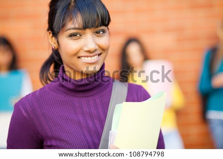 pretty female indian college student portrait