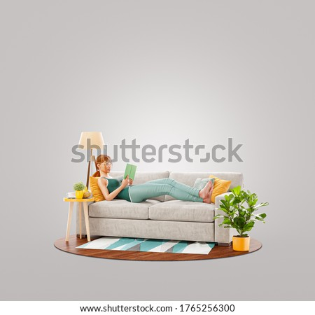 Pretty female reads book lying on a couch at her home. Unusual 3d illustration