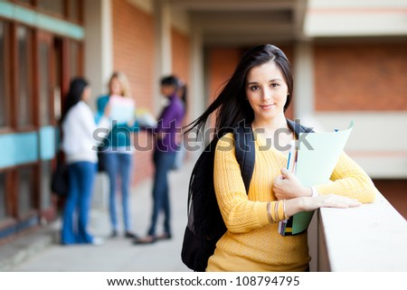 pretty female university student portrait