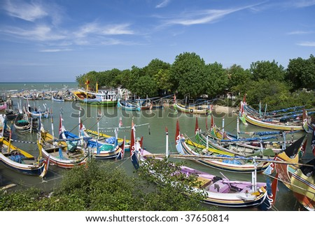 Pretty fishing boats in Madura Island, Indonesia