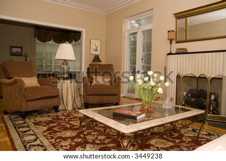 pretty formal living room in upscale home