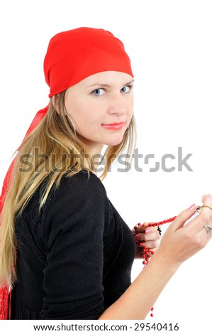 Pretty fortune-teller in red bandana, isolated on white