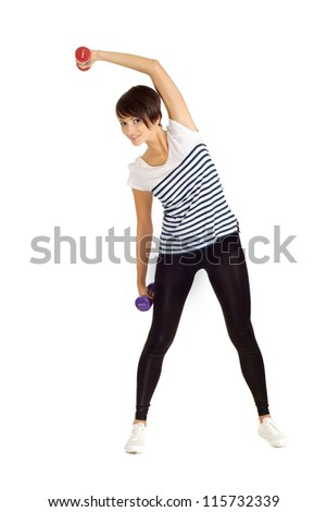 Pretty girl at the gym on a white background