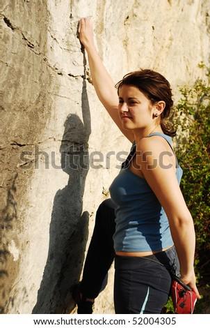 pretty girl climbing