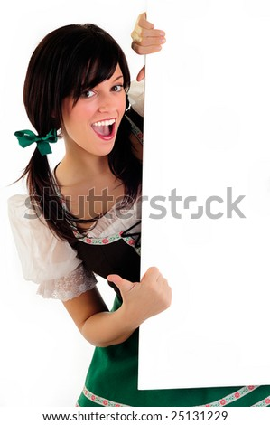 Pretty Girl Dressed In Traditional Costume For St Patrick's Day And Oktoberfest Pointing To Your Message