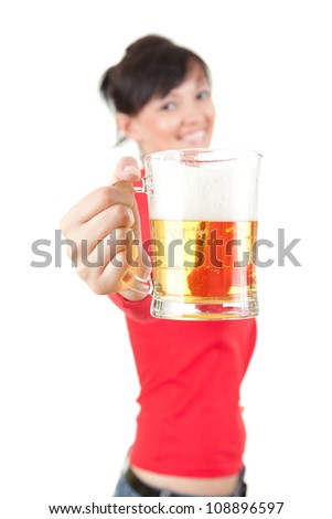 pretty girl gives to you a mug of beer, white background