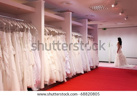 Wedding Shops on Pretty Girl In A Wedding Gown In The Bridal Shop  Stock Photo 68820805