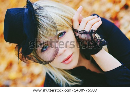 pretty girl in hat with veil #1488975509