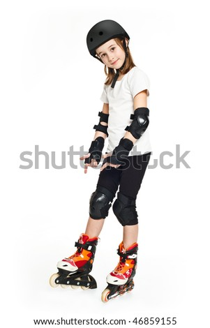Pretty girl roller on white background