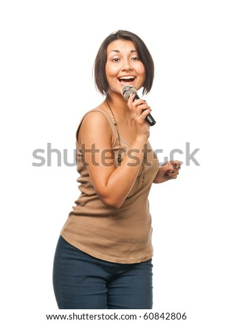 Pretty girl singing into a microphone