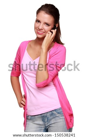 Pretty girl talking on a mobile phone/Charming young woman listens to music through headphones