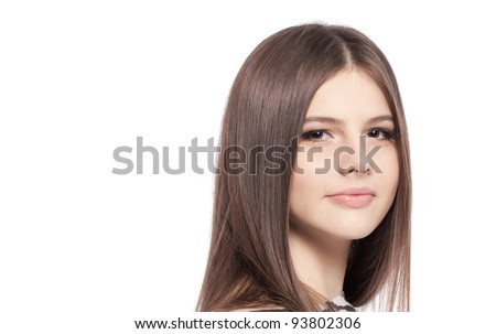 Pretty girl teenager with with long glossy brown hair clean skin ...