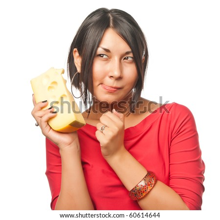 Pretty girl with a big piece of cheese