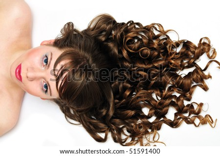 pretty girl with awesome long curly  hair