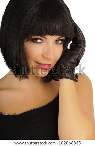 Pretty girl with bob hairstyle - stock photo