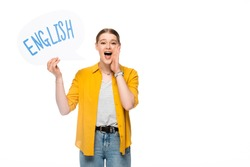 pretty girl with braid holding speech bubble with English lettering shouting isolated on white