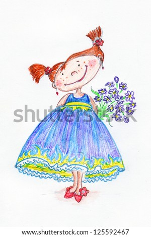 Pretty girl with flowers. Picture drawn with colored pencils. Image for your greeting card