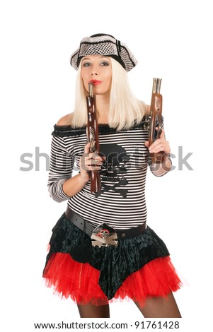 Pretty girl with guns dressed as pirates