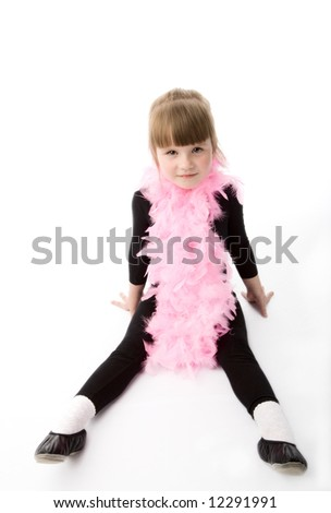 Pretty girl with pink neck-piece on a white background.