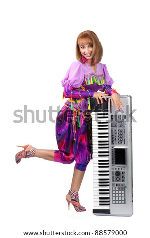 pretty girl with the electronic organ over white