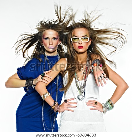 Pretty girls with bijouterie. Fashion photo. Beauty and style