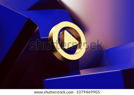 Pretty Golden Music Play Circle Icon With the Blue Glossy Boxes. 3D Illustration of Fine Golden Circle, Media, Multimedia, Music, Play, Player Icon Set on the Blue Geometric Background. #1079469905