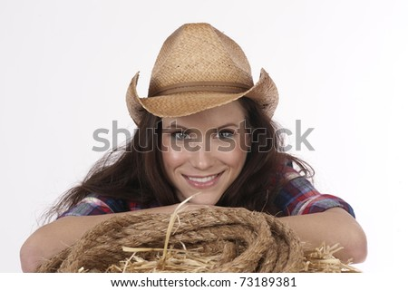 Pretty Happy Cowgirl Portrait Head-shot on Hay-bale with Rope
