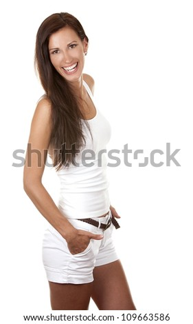 pretty happy young brunette wearing white casual outfit