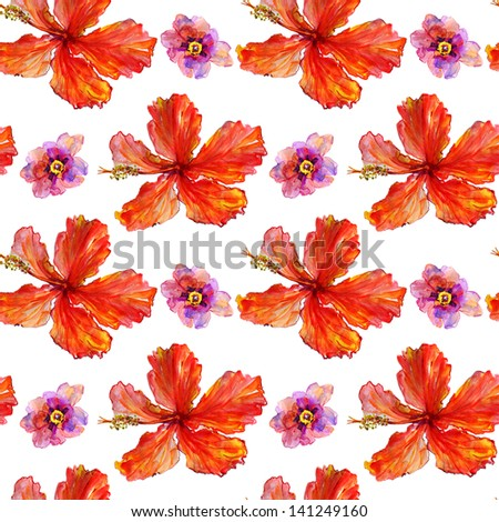 Pretty hibiscus and peony seamless background