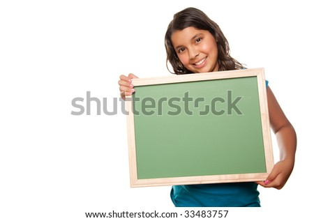 Pretty Hispanic Teen Aged Girl Holding Blank Chalkboard Isolated on a White Background.