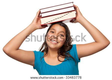 Pretty Hispanic Teen Aged Girl with Books on Her Head Ready for School Isolated on a White Background.