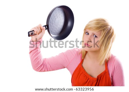 pretty housewife with pan on isolated on white background