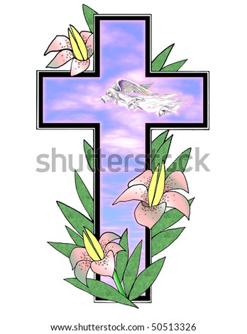 Pretty illustration with Easter lilies , angel ,morning sky and cross over white background .Useful holiday design element .