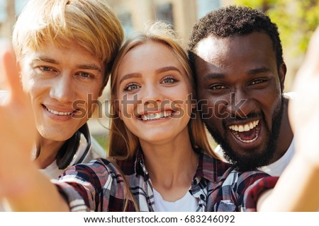 Pretty inspired girl having a great day in friends company #683246092