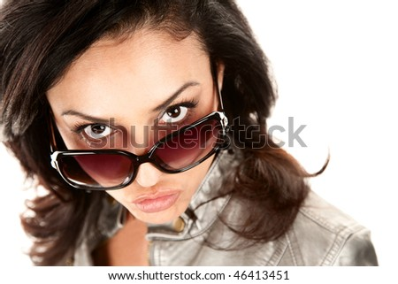 Pretty Latina Woman Looking Over the Top of Her Glasses