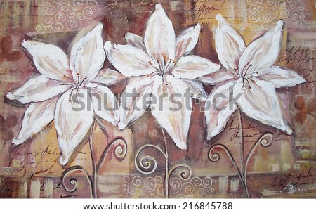 Pretty lily flower brown acrylic painting. Interior decor.