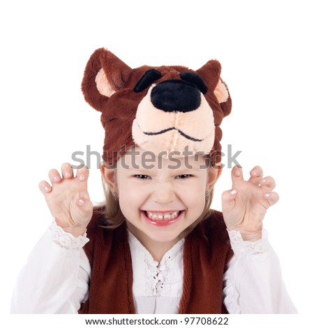 pretty little emotional child in the bear carnival costume - stock photo