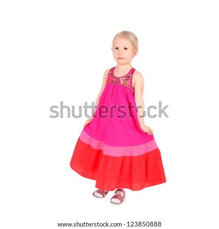 pretty little girl in the folk dress