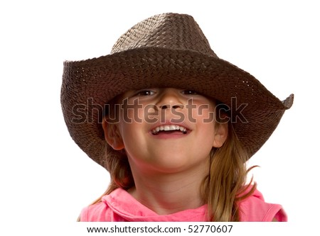 Pretty little girl wearing a brown straw hat