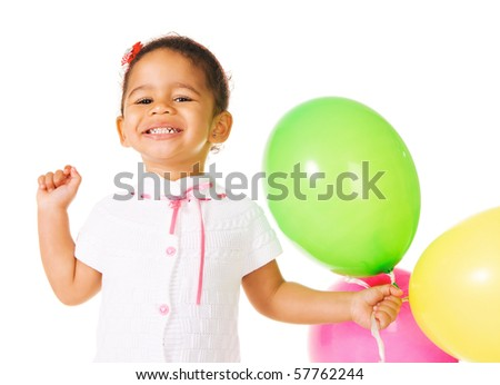 Pretty little girl with colorful balloons on white background
