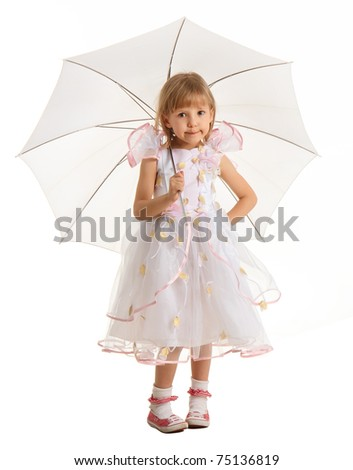 Pretty little girl with umbrella isolated on white background smiling child