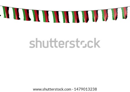 pretty many Malawi flags or banners hanging on string isolated on white - any occasion flag 3d illustration