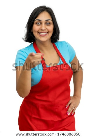 Pretty mature adult latin american waitress isolated white background for cut out