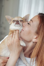 Pretty mature woman with Chihuahua dog in hands on home balcony. Middle aged female and her doggy Chihuahua. Concept pet love and family friend