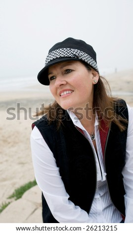 Pretty middle age woman at beach (Crystal Cove California)