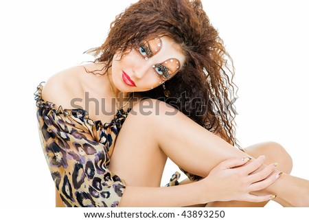pretty model in tiger dress on white background